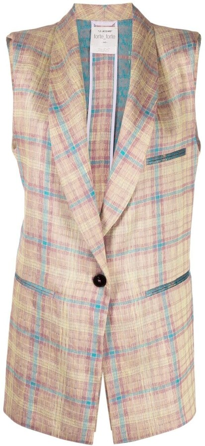 Thumbnail for your product : Forte Forte Jacquard Tartan Sleeveless Jacket