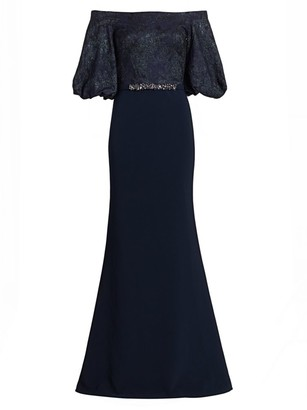 Theia Off-the-Shoulder Embellished Trumpet Gown