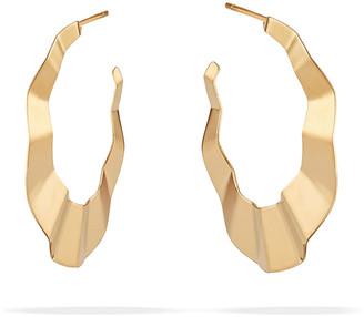 Lana 14k Flat Wavy Hoop Earrings, 32mm