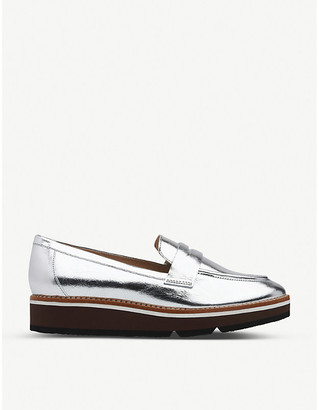 LK Bennett Shana metallic leather flatform loafers