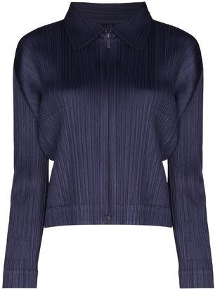 Pleats Please Issey Miyake Front Zip Plisse Polo Top