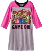 """Girls 4-10 Mario Life of the Party """"Game On!"""" Dorm Nightgown"""