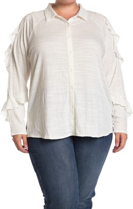 One A Ruffle Sleeve Button Front Shirt