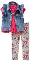 Betsey Johnson Tee, Ruffle Denim Vest, & Floral Leggings Set (Toddler Girls)