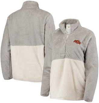 Women's Gray Oklahoma State Cowboys Fuzzy Fleece Colorblock Quarter-Snap Pullover Jacket
