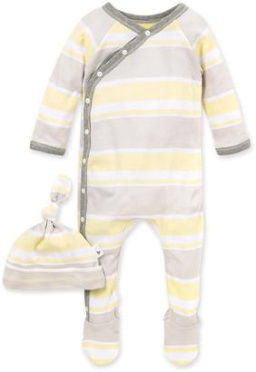 Burt's Bees Local Stripe Organic Baby Footie Jumpsuit & Knot Top Hat Set