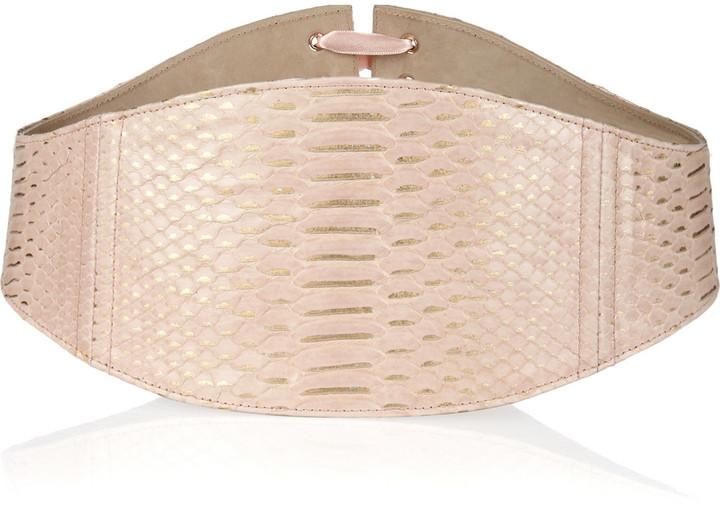 Alexander McQueen Metallic python corset belt