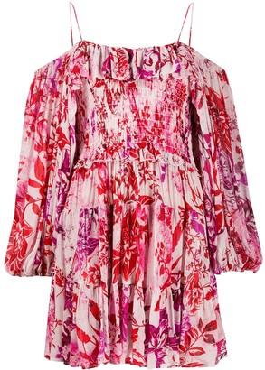 Soallure Floral-Print Smocked Dress