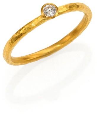 Gurhan Delicacies Diamond & 24K Yellow Gold Skittle Stacking Ring