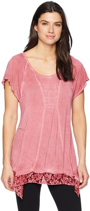 One World ONEWORLD Women's Short Sleeve Oil Wash Lace Trim Top