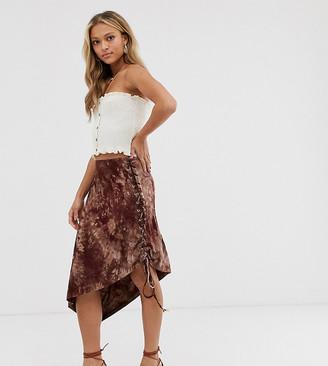 N. Ebonie Ivory ebonie ivory asymmetric midi skirt in tie dye-Brown