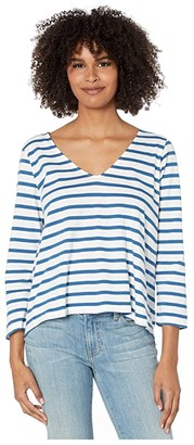 Majestic Filatures Striped 3/4 Sleeve Cotton V-Neck Tee (Notte) Women's Clothing