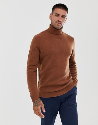 Asos DESIGN lambswool roll neck sweater in rust