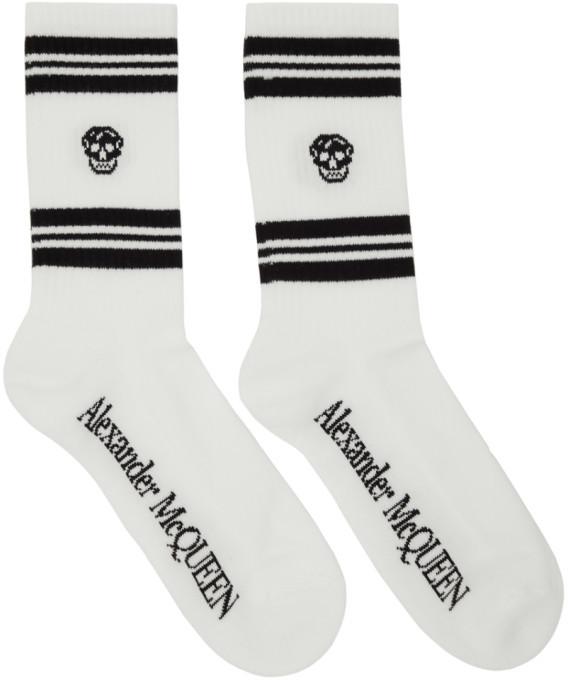 Alexander McQueen White and Black Stripe Skull Sport Socks