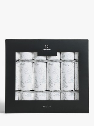 John Lewis & Partners Silver Trees Christmas Crackers, Pack of 12