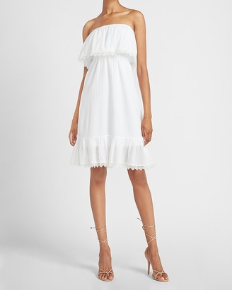 Express Strapless Lace Trim Midi Dress