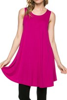 2LUV Women'sSleeveless Jersey Knit Hi Low Tunic Top S (ATP-2250RS-GMT)