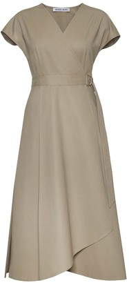 Diana Arno Adele Cotton Wrap Dress In Sandy Beige
