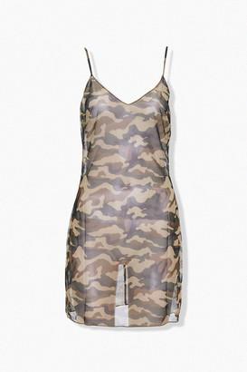 Forever 21 Sheer Mesh Camo Mini Dress