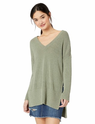 Jack by BB Dakota Womens Getting Warmer V-Neck Wide Ribbed Sweater