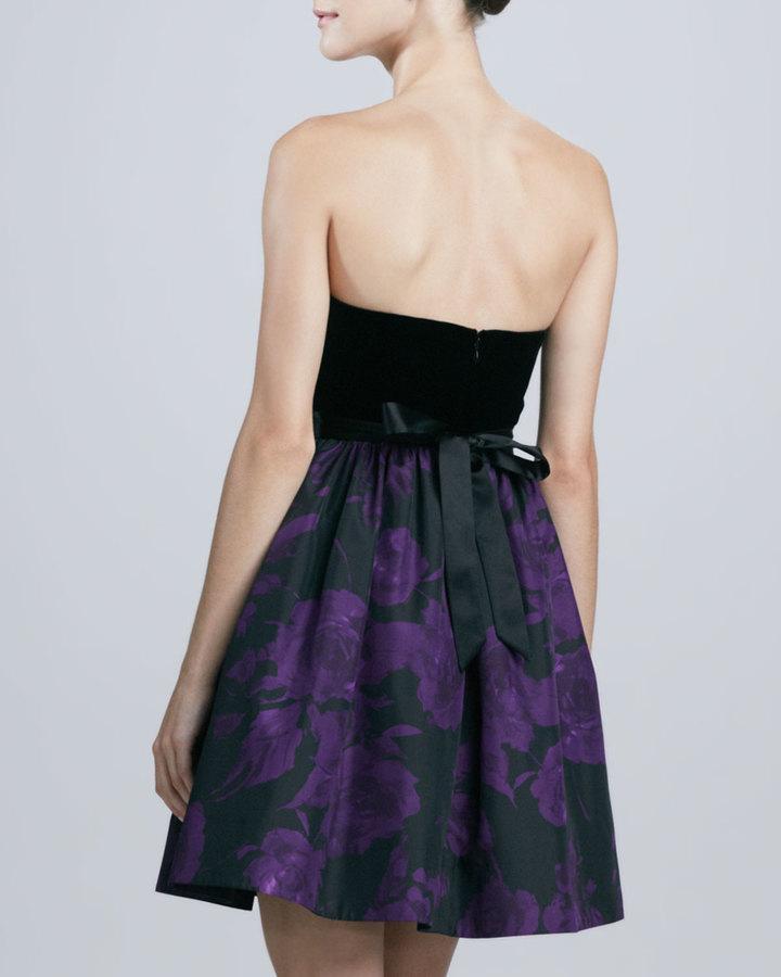 Aidan Mattox Strapless Printed Cocktail Dress