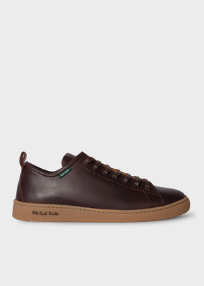 Men's Dark Brown Leather 'Miyata' Trainers With Tan Rubber Soles