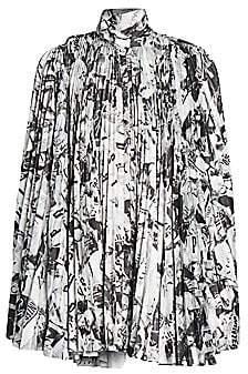 Balenciaga Women's Newspaper Print Pleated Dress