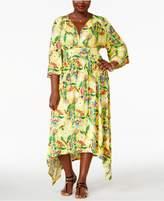 Melissa McCarthy Trendy Plus Size Handkerchief-Hem Maxi Dress