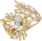 Betsey Johnson Gold-Tone Stone & Crystal Cockatoo Hinged Bracelet