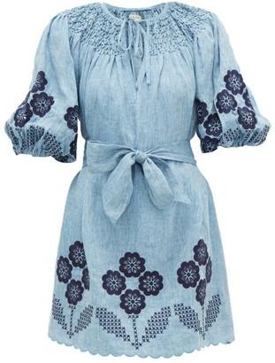 Innika Choo Hans Ufmafrok Smocked Linen Mini Dress - Womens - Denim