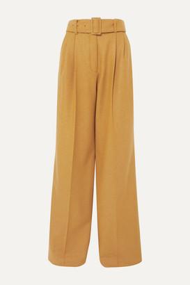 Paul & Joe Belted Wool-blend Wide-leg Pants - Mustard