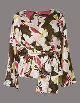 Marks and Spencer Floral Print V-Neck Long Sleeve Blouse