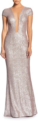 Dress the Population Michelle Sequin Plunging Gown