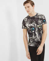 Ted Baker Parrot Printed Cotton T-shirt Black