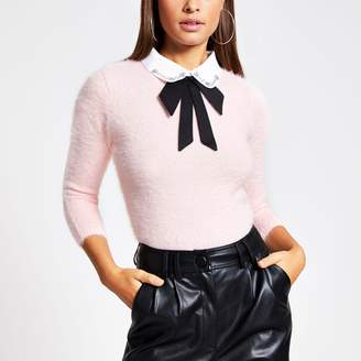 River Island Womens Pink embellished collar fluffy knit jumper