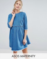 Asos Denim Smock Dress In Mid Wash Blue