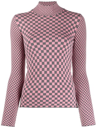 Emporio Armani Checkered Knitted Top