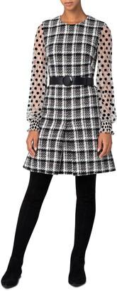 Akris Punto Gossamer Long Sleeve Super Lightweight Tweed Dress