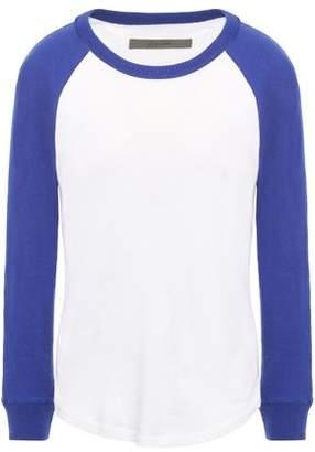 Enza Costa Two-tone Slub Cotton And Cashmere-blend Jersey Top