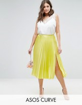 Asos Pleated Midi Skirt With Splices