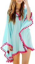 Bess Bridal Women's Beachwear Cover-ups Tunic Pom Pom Trim Loose Cover up
