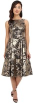 Aidan Mattox Printed Jacquard Tea Length Cocktail Dress