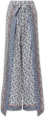 Chloé Layered Printed Silk-twill Wide-leg Pants