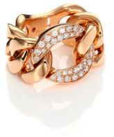 Roberto Coin Gourmette Diamond & 18K Rose Gold Chain Ring