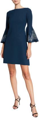 Chiara Boni Natalia Bell-Sleeve Dress with Embroidery