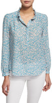 Rebecca Taylor Button-Front Floral-Print Semisheer Blouse, Turquoise/Combo