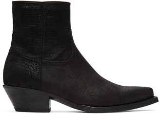 Saint Laurent Black Lizard Lukas Boots