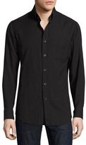 Tom Ford Cotton-Cashmere Washed Twill Shirt, Navy