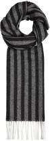 Eton Grey Striped-herringbone Wool Scarf