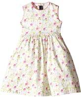 Oscar de la Renta Childrenswear Watercolor Floral Cotton Party Dress (Toddler/Little Kids/Big Kids)